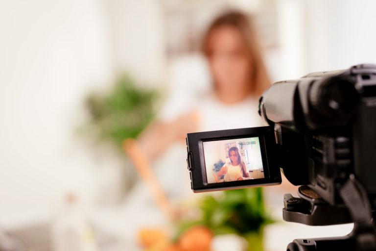 woman doing a vlog